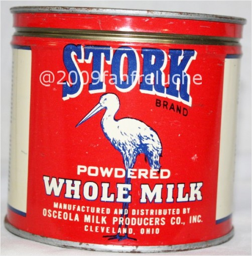 Vintage Stork Osceola milk powdered tin can