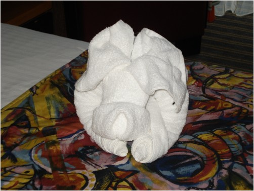 A dog made out of towel - origami